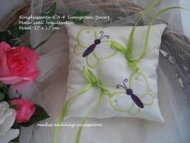 Ringkussen B-8-4  Ivoor met limegroen-paars
