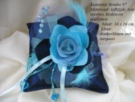 Ringkussen REMBO  87   donkerblauw met turquoise    NIEUW !!
