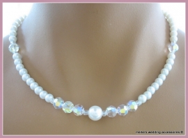 Collier GLc-M-2  ivoor-wit 6 mm glasparels mat met facetkralen