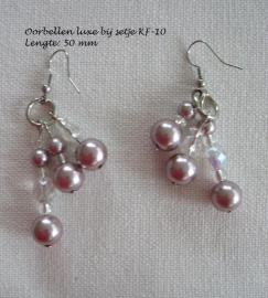 Luxe oorbellen bij setje KF-10  Oud rose   - roze paars