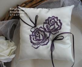 Ringkussen 17-36  Ivoor-paars  Two Roses  NIEUW !!