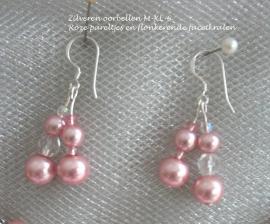 Zilveren oorbellen LM-8   roze pareltjes en flonkerende facetkralen  NIEUW !!
