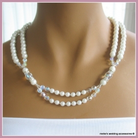 Collier  Glc-M-10  glasparels ivoor met facetkralen en strass spacers