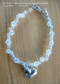 Armbandje voor bruidsmeisje  M-brm-8  mat ivoor-wit