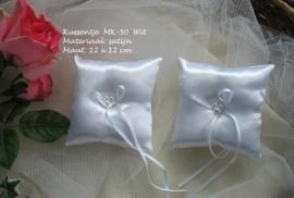 Ringkussen MK-50  wit satijn met drie pareltjes