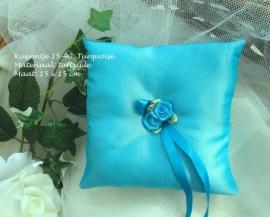 ringkussen 15-40  turquoise met twee roosjes       (u-3)