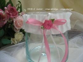 Kinder-kousebandje KKB-2  Ivoor met roze strikje en roze roosje