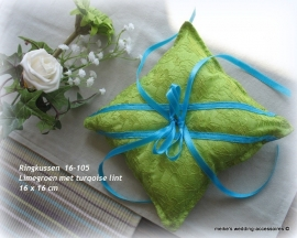 Ringkussen 16-105B  limegroen met twee turquoise ringlintjes
