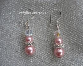 Zilveren oorbellen M-KL-5  Roze met strass spacers  NIEUW !!