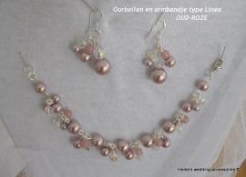 LM-6  Armbandje en oorbellen type Linea  kleur oud-roze