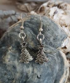 Oorhangers met kerstboom- zilverkleurig
