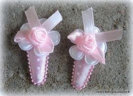 Haarclipjes HA-br-baby-5  Hoesje roze stip,wit bloemetje (per 2)