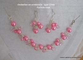 LM-5 Armbandje en oorbellen type Linea kleur  fuchsia-roze