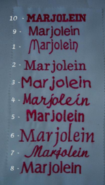 Aanvulling borduren bruidszakdoekjes  eigen tekst.  Basis € 5,00