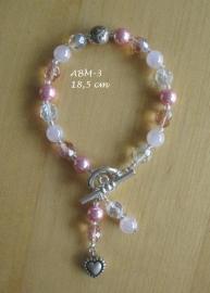 Armbandje (bruid)  met roze pareltjes  ABM-3