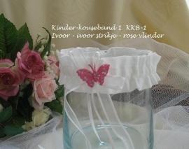 Kinder-kousebandje KKB-1  Ivoor met ivoor strikje en roze vlindertje