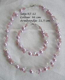 Sieraden set KF-12  lila-rose glasparels, Swarovski kralen en opaalrose kralen