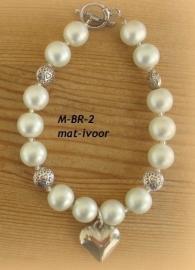 Bruids-armbandje  M-BR-2  mat-ivoor           (u-5)