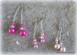 Oorbellen lichtroze, roze en fuchsia
