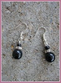 Oorbellen KL-zw-3a  zwarte glasparels met strass spacers