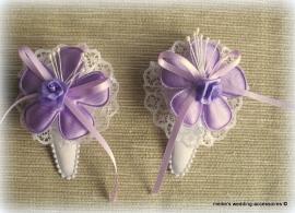 Haarclipjes HA-br-10  Wit met lila (per 2)