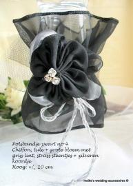 Polsbandje PB-BR-4-zw  zwart  - grijs - zilver