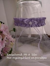 Kouseband  PR-8  lila met pareltjes  NIEUW !!