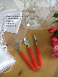 besteksetjes  voor bijv. bruidstaart/feestje  no 6  transparant  rood