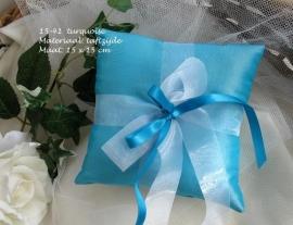 ringkussen 14-41  turquoise met wit organza lint        (u-3)