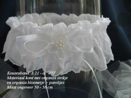 Kouseband  A-21A   Wit met wit bloemetje  NIEUW !!
