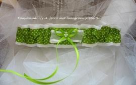 Kousenband R/s-4  Ivoor-limegroen stippeltje  NIEUW !!