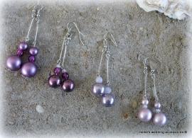 Oorbellen  paars/mat, paars/glanzend, vintage lila, lila