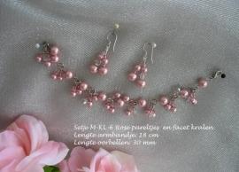Armbandje LM-8 - roze pareltjes, facet kralen  NIEUW !!