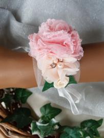 Polscorsages - polsbandjes - roze-peach-lila