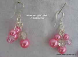 LM-5  Oorbellen type Linea kleur  fuchsia-roze