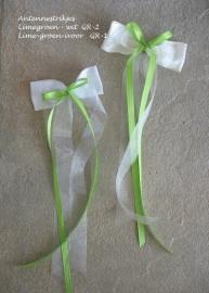Antenne-strikjes  GR-1  en GR-2  wit/ivoor met limegroen