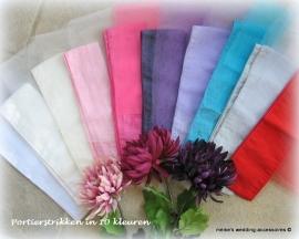 Versiering autoportier  kleuren wit, ivoor, champagne,roze, fuchsia-roze, paars, lila, turquoise , grijs en rood