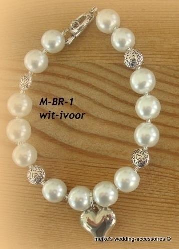 Bruids-armbandje  M-BR-1   Glanzend ivoor/wit       (u-5)