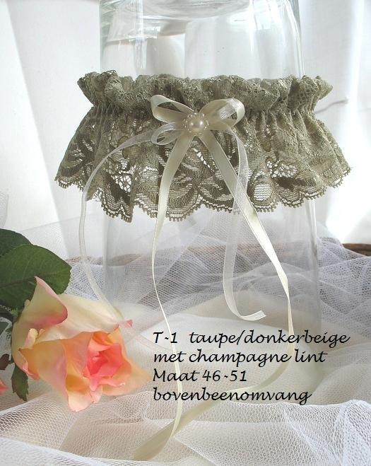 Kouseband T-1  taupe/donkerbeige met champagne lint