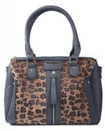 Donker grijze handtas met luipaard print