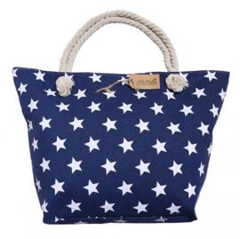 Blauwe strandtas met sterren