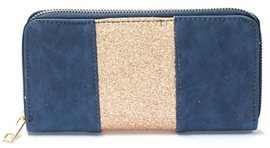 Blauwe portemonnee met goude details