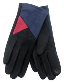 zwarte handschoen met blauw en rood