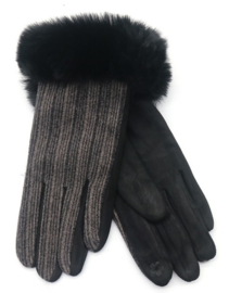 Zwart rib handschoen met bont