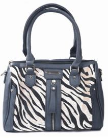 Donker grijze handtas met zebra print