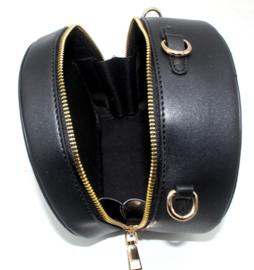 Zwarte ronde schoudertas van het merk brakelenzo