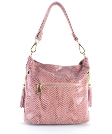 Roze leren handtas van het merk giuliano