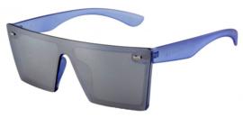 Blauwe zonnebril uit een stuk