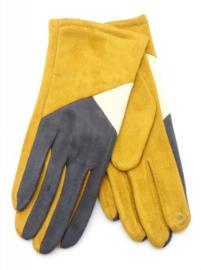 Gele handschoen met grijs en wit