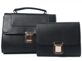 Zwarte handtas met snake print + clutch van het merk brakelenzo